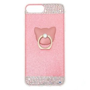 Pink Sparkling Kitty iPhone Case for 6+, 7+, 8+